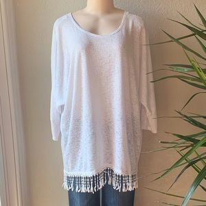 •ALFANI•White Fringy Tunic Top